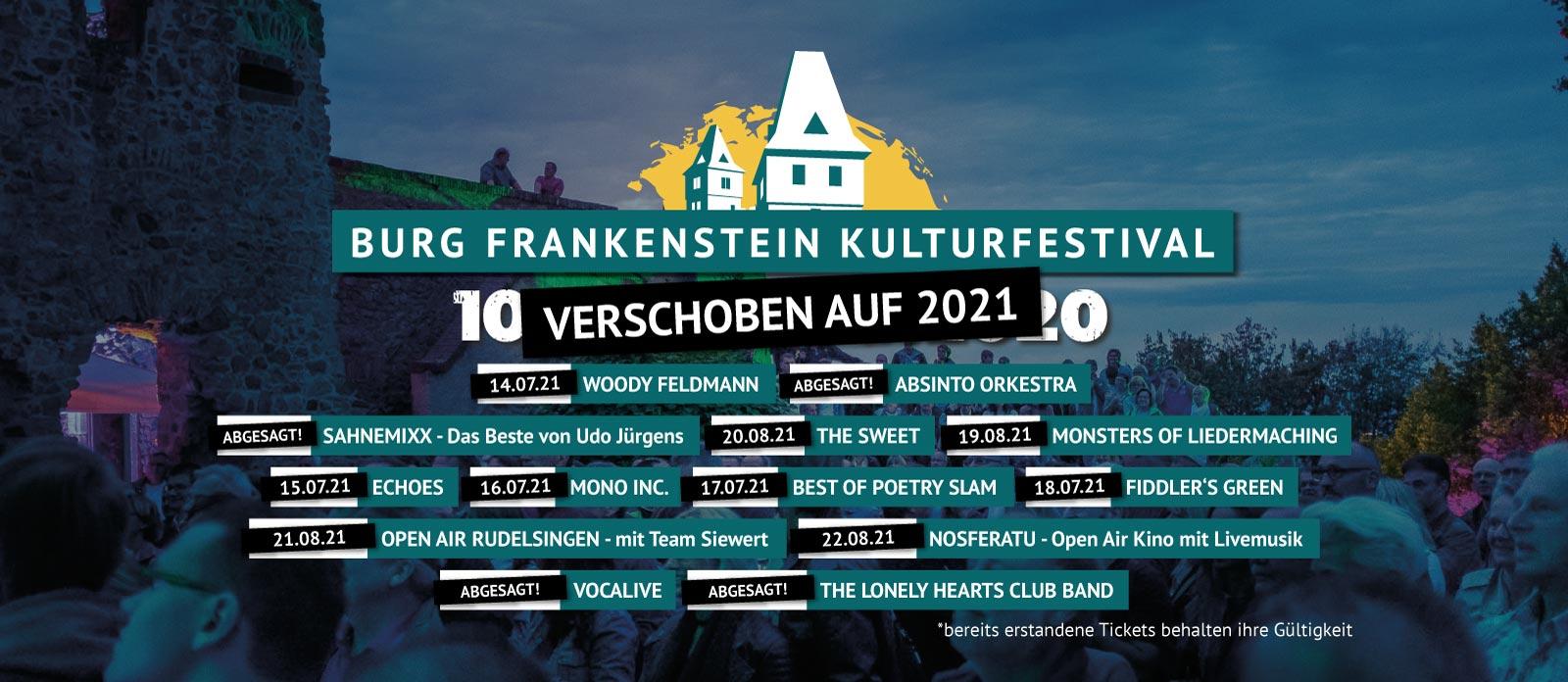 Frankenstein Kulturfestival 2020 verschoben auf 2021